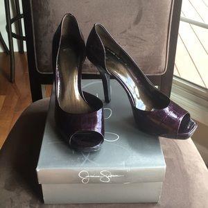 Jessica Simpson Plum Snake Skin Patent Heels